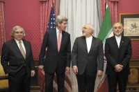 US Energy Secretary Ernest Moniz, Secretary of State John Kerry, Iranian Foreign Minister Mohammad Javad Zarif, and Ali Akbar Salehi, head of the Atomic Energy Organization of Iran, Lausanne, Switzerland, March 2015