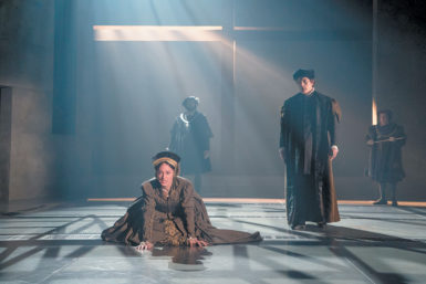Lydia Leonard as Anne Boleyn and Ben Miles as Thomas Cromwell in the Royal Shakespeare Company's production of Wolf Hall Part Two: Bring Up the Bodies, on Broadway this spring