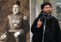 The two caliphs: Mehmet Reshad of the Ottoman Empire, circa 1917, and Abu Bakr al-Baghdadi of ISIS, July 2014