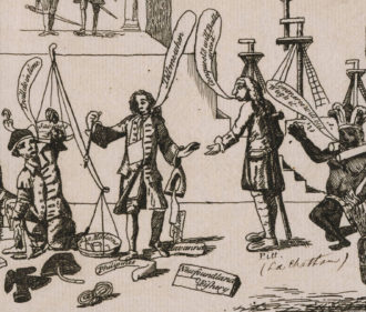 Detail from The Great Financier, or British Economy for the Years 1763, 1764, 1765, showing British Prime Minister George Grenville holding a balance in which debt outweighs savings, 1765