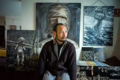 Hu Jie in his studio in Nanjing, 2015
