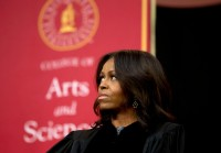 First Lady Michelle Obama before her commencement speech at Tuskegee University, May 9, 2015