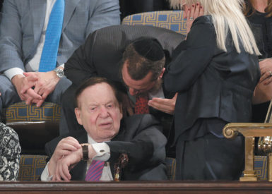 Las Vegas casino magnate Sheldon Adelson—who spent at least $92 million to support Republican candidates in the 2012 election—waiting with his wife, Miriam, for Israeli Prime Minister Benjamin Netanyahu to address Congress, Washington, D.C., March 2015