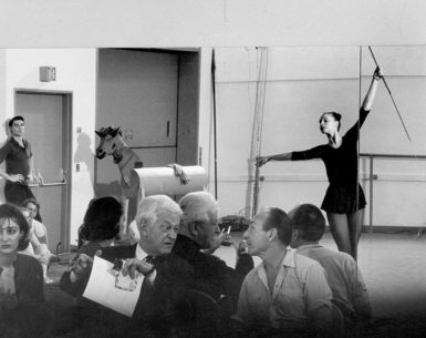 George Balanchine (right) and the composer Nicolas Nabokov at a rehearsal of Don Quixote, with Suzanne Farrell dancing in the mirror, 1965