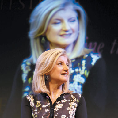 Arianna Huffington, editor in chief of The Huffington Post, talking about the baby boom generation at the Hay Festival, Hay-on-Wye, Wales, June 2014