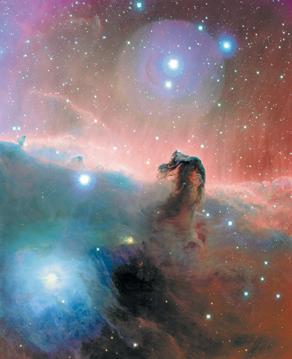 The Horsehead Nebula in the constellation of Orion, about 1,500 light years from the earth, as seen from the Canada-France-Hawaii Telescope in Hawaii; from Michael Benson's book Far Out: A Space-Time Chronicle (2009)