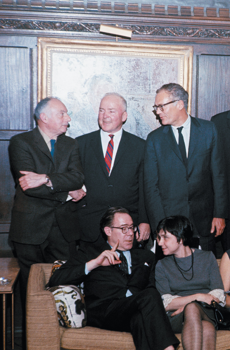 John Berryman and Adrienne Rich (seated), with Stanley Kunitz, Richard Eberhart, and Robert Lowell (standing), at a memorial tribute to Randall Jarrell at Yale University, New Haven, Connecticut, February 1966