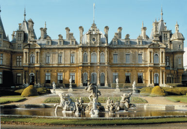 Waddesdon Manor in Buckinghamshire, built for Ferdinand de Rothschild in 1874–1889 and bequeathed to the British National Trust along with all its art and objects by James A. de Rothschild in 1957