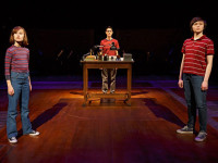 Sydney Lucas as small Alison, Beth Malone as Alison, and Emily Skeggs as medium Alison in the Broadway adaptation of Alison Bechdel's Fun Home, 2015