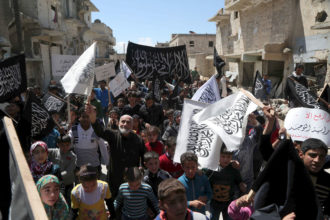Residents of Idlib, northern Syria, celebrating Jabhat al-Nusra's defeat of government forces, April 24, 2015