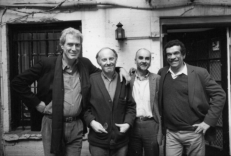 Mark Strand, Joseph Brodsky, Adam Zagajewski, and Derek Walcott in Brodsky's garden, New York City, 1986