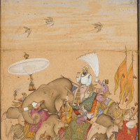 Sultan Ibrahim 'Adil Shah II in Procession; painting by the school of 'Ali Riza, Bijapur, early seventeenth century