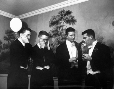 Members of the Yale Whiffenpoofs, the oldest collegiate a cappella group in the United States, early 1950s
