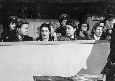 Ravensbrück guards Dorothea Binz, Margarete Mewes, Grete Bösel, Vera Salvequart ('Dr. Vera,' in the row behind, who worked as a 'nurse'), and Eugenia von Skene on trial at the War Crimes Court in Hamburg, circa December 1946