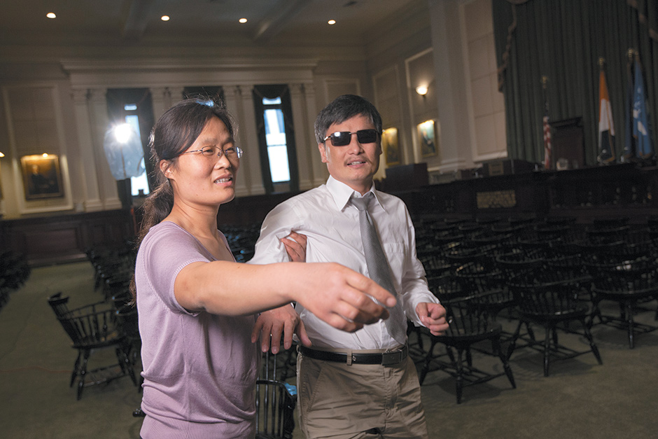 The blind lawyer Chen Guangcheng with his wife, Yuan Weijing, in New York City, shortly after fleeing China, May 2012