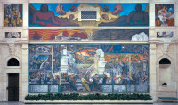 The north wall of Diego Rivera's mural Detroit Industry (1932–1933) at the Detroit Institute of Arts, depicting assembly line workers at the Ford Motor Company's River Rouge plant