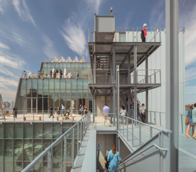 The terrace extending from the seventh floor of the new Whitney Museum building, designed by Renzo Piano, which opened in Manhattan's Meatpacking District this spring