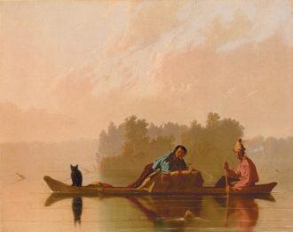 George Caleb Bingham: Fur Traders Descending the Missouri, 29 1/4 x 36 1/4 inches, 1845