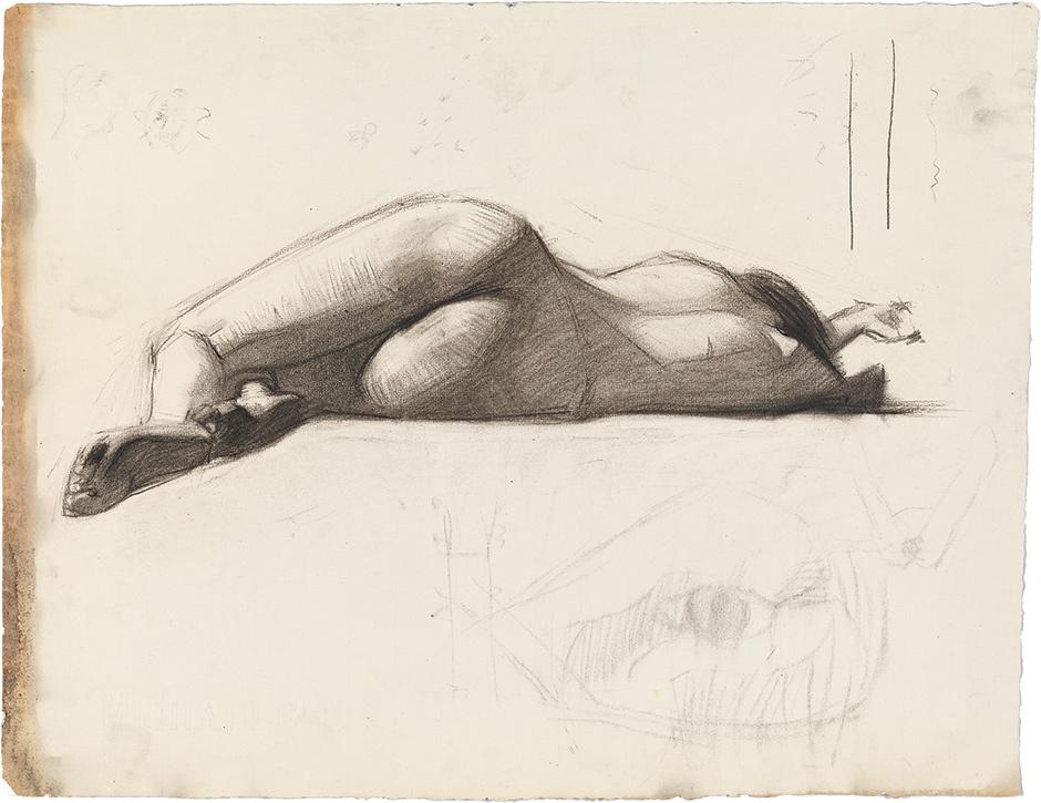 Edward Hopper: Reclining Female Nude, Rear View, 1900–1906