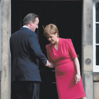 British Prime Minister David Cameron and Scottish First Minister Nicola Sturgeon meeting for the first time since the general election, Edinburgh, Scotland, May 15, 2015