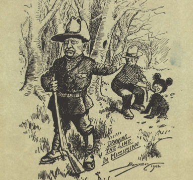 A cartoon of President Theodore Roosevelt refusing to shoot a bear in Mississippi, November 16, 1902