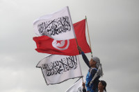 Salafists calling for Islamic law at the Tunisian National Television building, Tunis, March 9, 2012