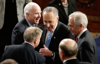 Senators Lindsey Graham, John McCain, Charles Schumer, and Bob Corker, Washington, DC, March 3, 2015