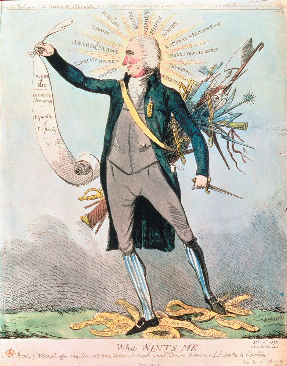 Thomas Paine advertising his services 'to any nation or people under heaven who are Desirous of Liberty & Equality'; cartoon by Isaac Cruikshank, 1792