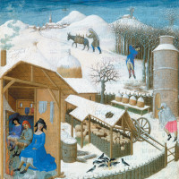 A country household in winter representing the month of February in the duke of Berry's Book of Hours, by the Limbourg brothers, circa 1412–1416