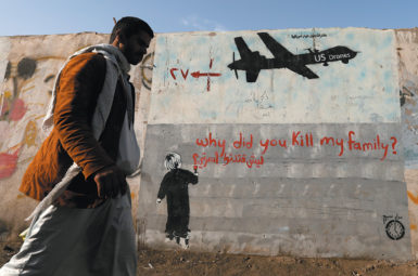 A mural denouncing US drone strikes, Sanaa, Yemen, November 2014