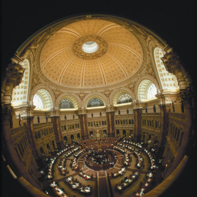 The reading room at the Library of Congress, Washington, D.C.