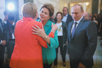 Brazilian President Dilma Rousseff with German Chancellor Angela Merkel and Russian President Vladimir Putin before the final match of the FIFA World Cup, Rio de Janeiro, July 2014