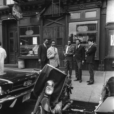 Donald Ayler, Albert Ayler, Lewis Worrell, Ronald Shannon Jackson, and Michel Sampson outside Slugs', 1966