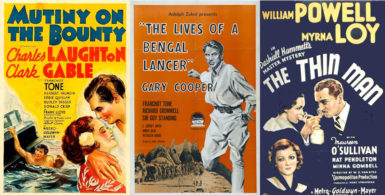 Posters for The Lives of a Bengal Lancer (1935), Mutiny on the Bounty (1935), and The Thin Man (1934)
