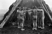 Selk'nam men dance to drive away the storms and bring good weather, 1918–1924