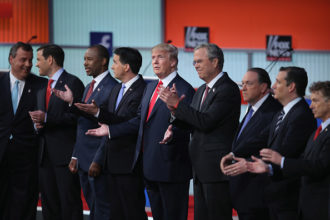 Chris Christie, Marco Rubio, Ben Carson, Scott Walker, Donald Trump, Jeb Bush, Mike Huckabee, Ted Cruz and Rand Paul at the first prime-time presidential debate hosted by FOX News and Facebook in Cleveland, Ohio, August 6, 2015