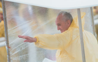 Pope Francis visiting typhoon survivors in Tacloban, the Philippines, January 2015