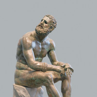 'Statue of a Seated Boxer (Terme Boxer),' bronze with copper inlays, third century BC