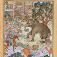 'Akbar Inspects the Capture of a Wild Elephant'; illustration from Abu'l-Fazl's History of Akbar, circa 1590