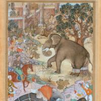 'Akbar Inspects the Capture of a Wild Elephant'; illustration from Abu'l-Fazl's History of Akbar, circa 1590