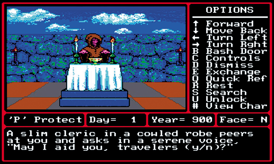 A screenshot from Might and Magic II: Gates to Another World (1988), one of the computer games Michael Clune writes about in Gamelife: A Memoir