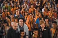 José Antonio Abreu, Gustavo Dudamel, and Deborah Borda of the Los Angeles Philharmonic with an orchestra of children trained by El Sistema, Caracas, Venezuela, February 2012