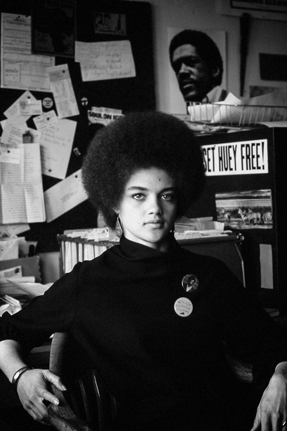 Kathleen Cleaver, the Black Panthers' communications secretary, the first woman member of the party's Central Committee, and the wife of the party's information minister, Eldridge Cleaver, Oakland, 1968; from Stanley Nelson's film The Black Panthers: Vanguard of the Revolution
