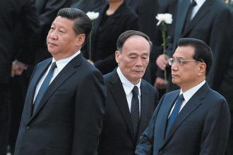 President Xi Jinping, Central Discipline Inspection Committee Secretary Wang Qishan, and Premier Li Keqiang, Tiananamen Square, Beijing, September 2014