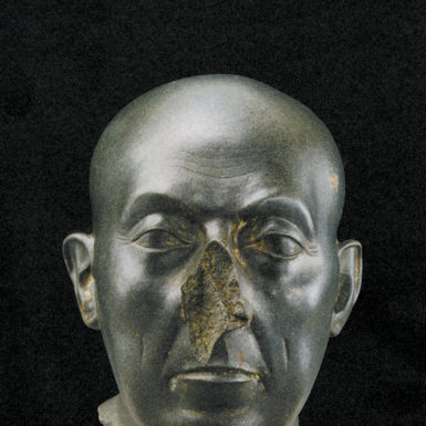 'Head of a Priest' (The Boston Green Head); Egyptian, 380–332 BC