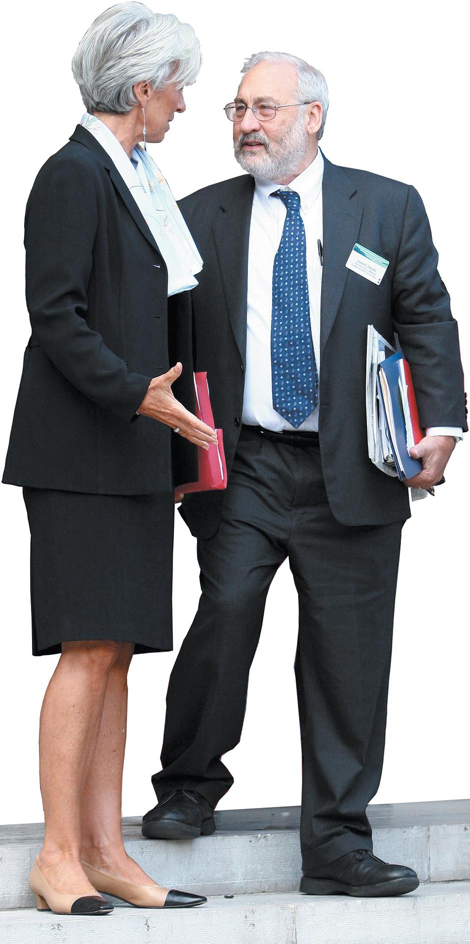 Joseph Stiglitz with Christine Lagarde,Paris, September 2009