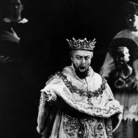Bulgarian bass-baritone Boris Christoff (1914–1993), in costume as Philip II in Verdi's opera <em>Don Carlos</em> at Covent Garden.