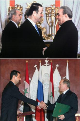 Top, Syrian President Hafez al-Assad and Soviet premier Leonid Brezhnev, 1980; bottom, Syrian President Bashar al-Assad and Russian President Vladimir Putin, 2005