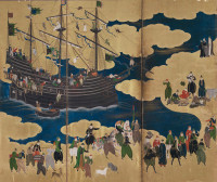 Kano Naizen: Southern Barbarians Come to Trade (detail), Japan, circa 1600