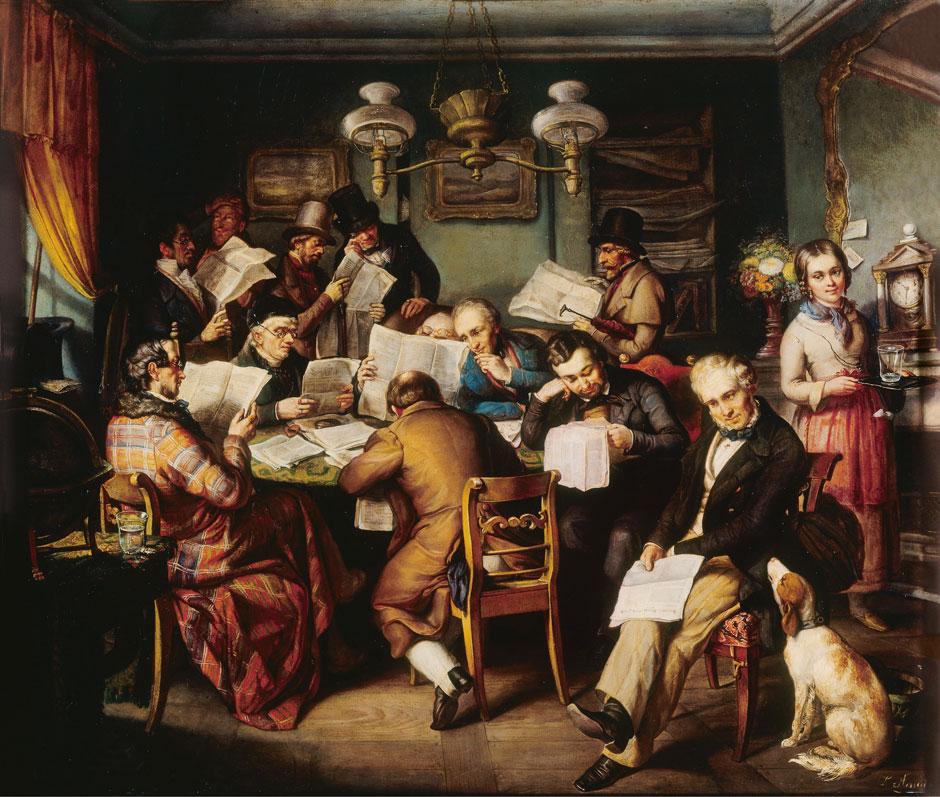 Heinrich Lukas Arnold: The Reading Room, circa 1840